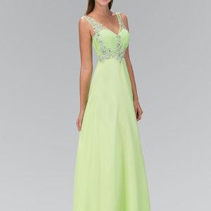 V-Neck Chiffon Long Prom Dress GL1073